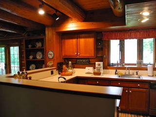 Piseco Lake lodge photo - Great Kitchen with Custom Cabinetry and Views of the Lake.
