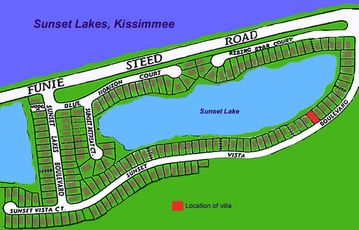 Location of Sunset Vista Villa on the select gated Sunset Lakes community