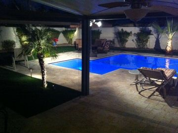 Downtown Scottsdale house rental - Night Lights....Pool with Fountain...