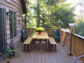 Large deck with picnic table