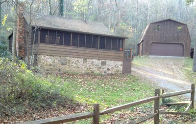 Front View of Lower Rawley Cabin and Garage/Barn