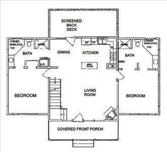 Main level floorplan.  Open kitchen with island