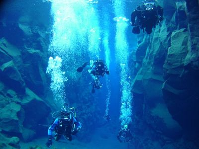 Diving in the crystal clear Silfra