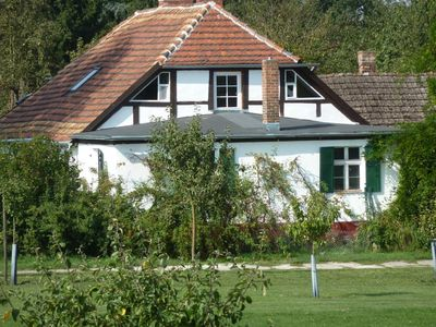 Old farm house in a large orchard, on the Oder dyke