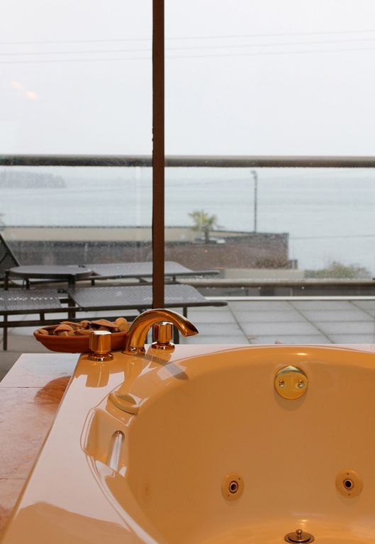 A view from the jacuzzi tub makes for a relaxing or romantic bath.