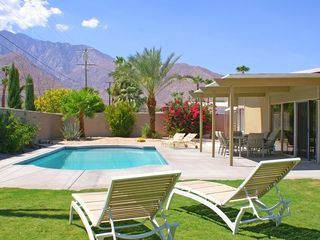 Palm Springs house photo - Private Enclosed Backyard, Newer Pool and Large Hot Tub, Towering Mountain Views