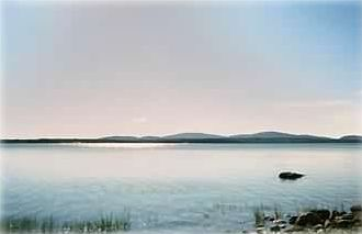 View of Acadia National Park across the bay from cottage