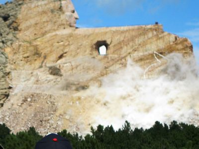 Near by Crazy Horse, when they are blasting