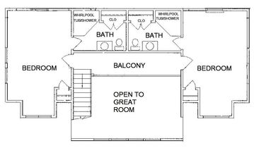 Upper level floorplan. Each bedroom sleeps 4