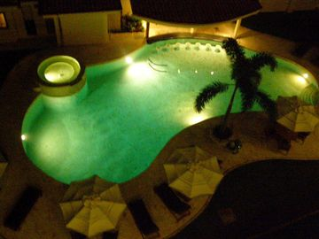 Night view of the pool.