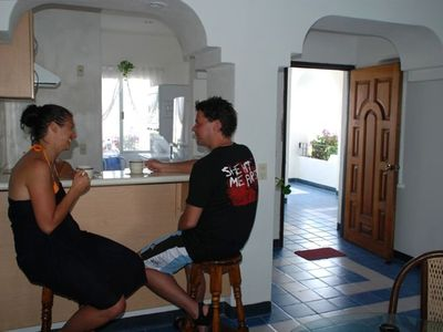 Manzanillo condo rental - Enjoy morning coffee at the breakfast bar