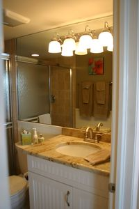 Master bath, new fixtures, large shower, granite and tile