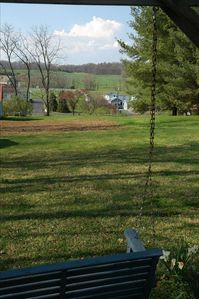 Neighboring fields from swing at upper back yard.