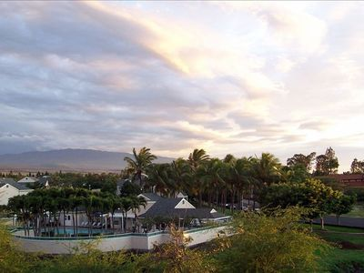 Sunset view of pool and Hualalai Volcano from the lanai.