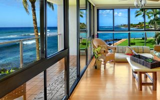 Poipu condo photo - SPECTACULAR! IDEAL SUNSET WEST FACING WINDOW WALLS! TIKI TORCHES LIT EVE'S