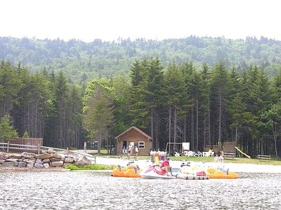 Waterfront Beach area. Paddle boats. canoes. rafts.