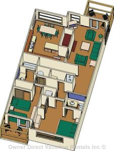 General floor plan - our unit has a 3rd balcony off the top left corner kitchen