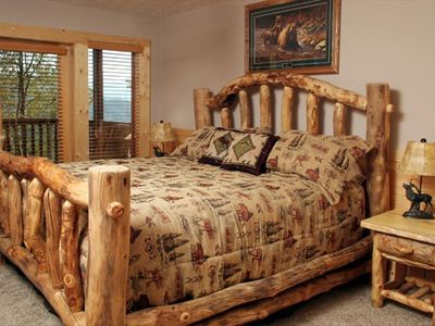 Beautiful King Log Bed with View on Lower Level