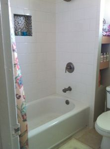 Remodeled bath with new shower/tub & vanity. State of the art & spa like luxury