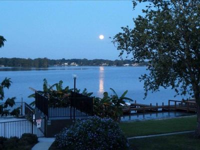 Full moon over lake - view of pool and marina from master bedroom