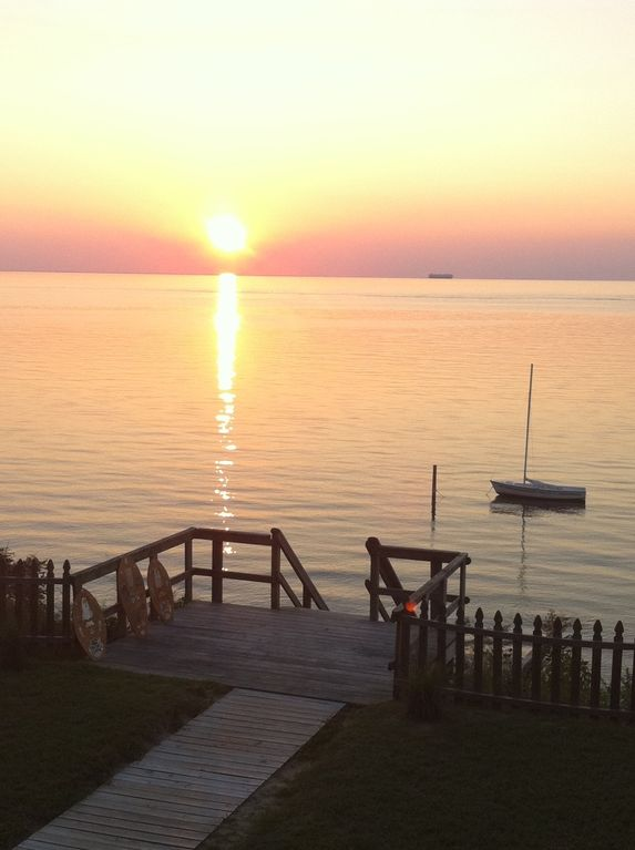 Cape Charles house rental - Sunset on the Aloha Deck--you are only steps from the beach, bay and your boat.