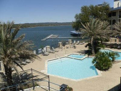 View from balcony, when lake level is up, please view our website for current lake levels on Lake Travis