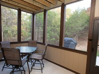 Branson house photo - Screen-in porch - Lower Level, extra seating & gas grill on outside patio