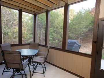 Screen-in porch - Lower Level, extra seating & gas grill on outside patio