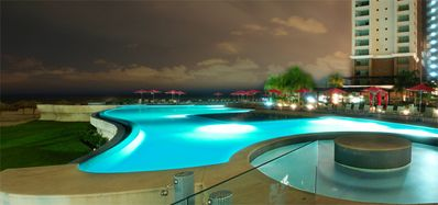 Nite Time at on of the Several Pools On Site