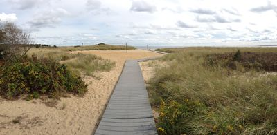 The walk way to our private beach overlooking Martha's Vineyard.