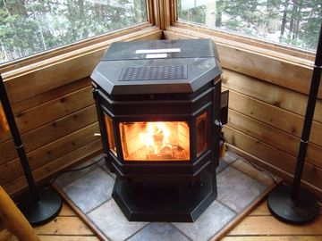 Pellet Stove burns 24/7!! Its a beautiful fire!