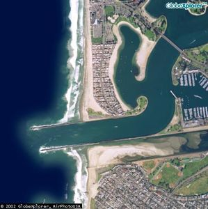 Aerial of South Mission, boat channel and Mission Bay Park.