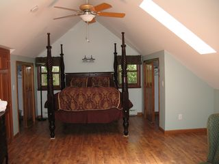 North Ferrisburg house photo - Master bedroom with Carribean queen and wood floors