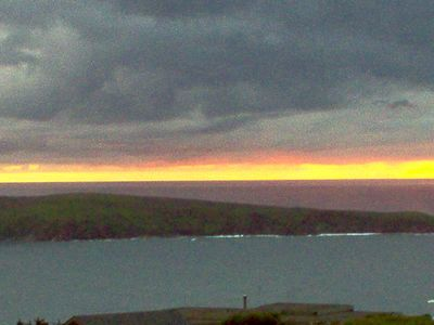 Sunset from the deck, the land is Pt. Reyes National Seashore