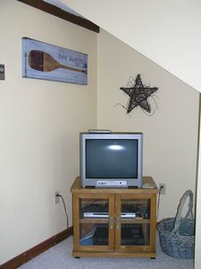 TV nook in the loft with the futon.