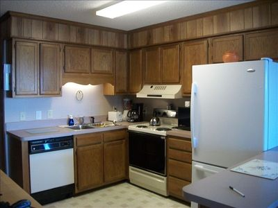 A Place at the Beach condo rental - Kitchen Area with all the aminities, Bran new refrigerator