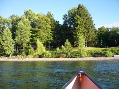 View from canoe on water. Natural area and lots of space, no cottage crowding.