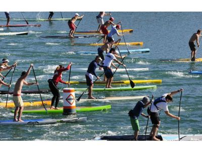 Come and join in the paddle boarding race.