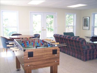 Rec Room with TV, Foosball, and Game Table