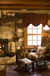 Boone cabin rental - A favorite spot to enjoy watching the snowfall or birds feeding in the garden