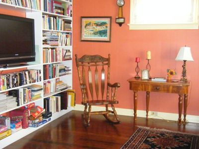 TV Room /Library with books