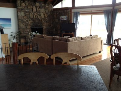 Upstairs Living Room faces waterside with fireplace, New couches 2012,