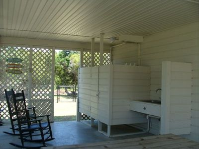 Outdoor Shower w/Hot & Cold Water & Fishing Sink