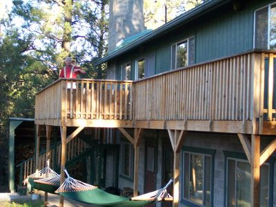 The Treehouse Deck is set up for hanging your Hammocks.