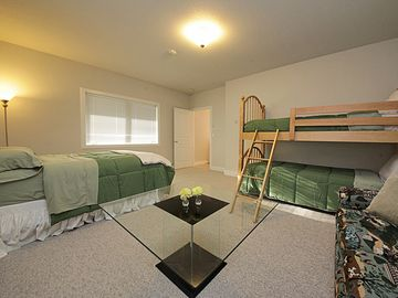 Double twin bunk beds, an additional full, plus a sofa bed with mountain & ocean