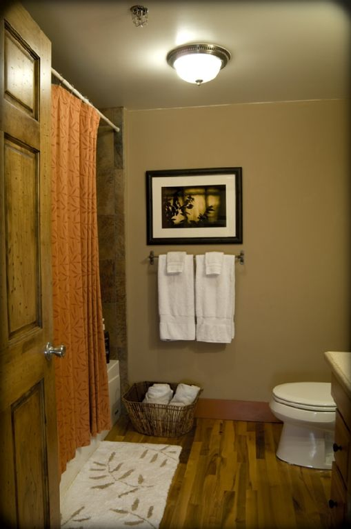 Bathroom with Neutrogena bath products and locally crafted soaps.