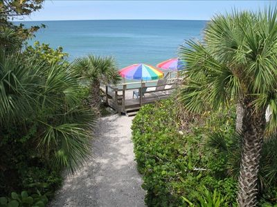 View from townhouse of private path to sun deck above beach and Gulf