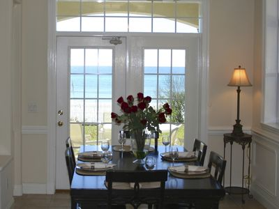 Fully equipped kitchen and adjoining dining area for six overlooking the Gulf