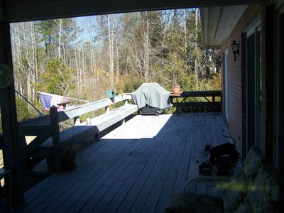Large deck with bench seats
