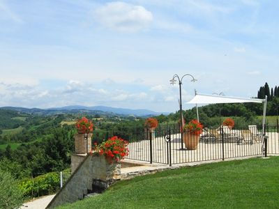 Collazzone farmhouse rental - Views from pool terrace